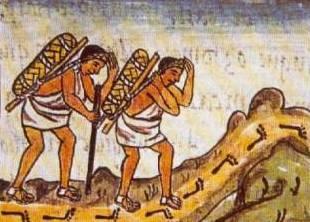 Pochtecas_con_su_carga, códice florentino. https-::es.wikipedia.org:wiki:Pochteca#:media:File-Pochtecas_con_su_carga.JPG